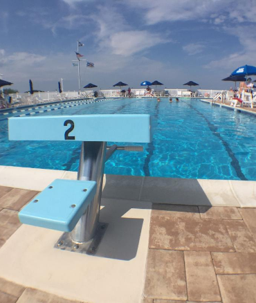 View of the pool from the diving board